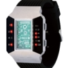 Бинарные часы 01TheOne Split Screen SC102R5 Black Strap Red Light