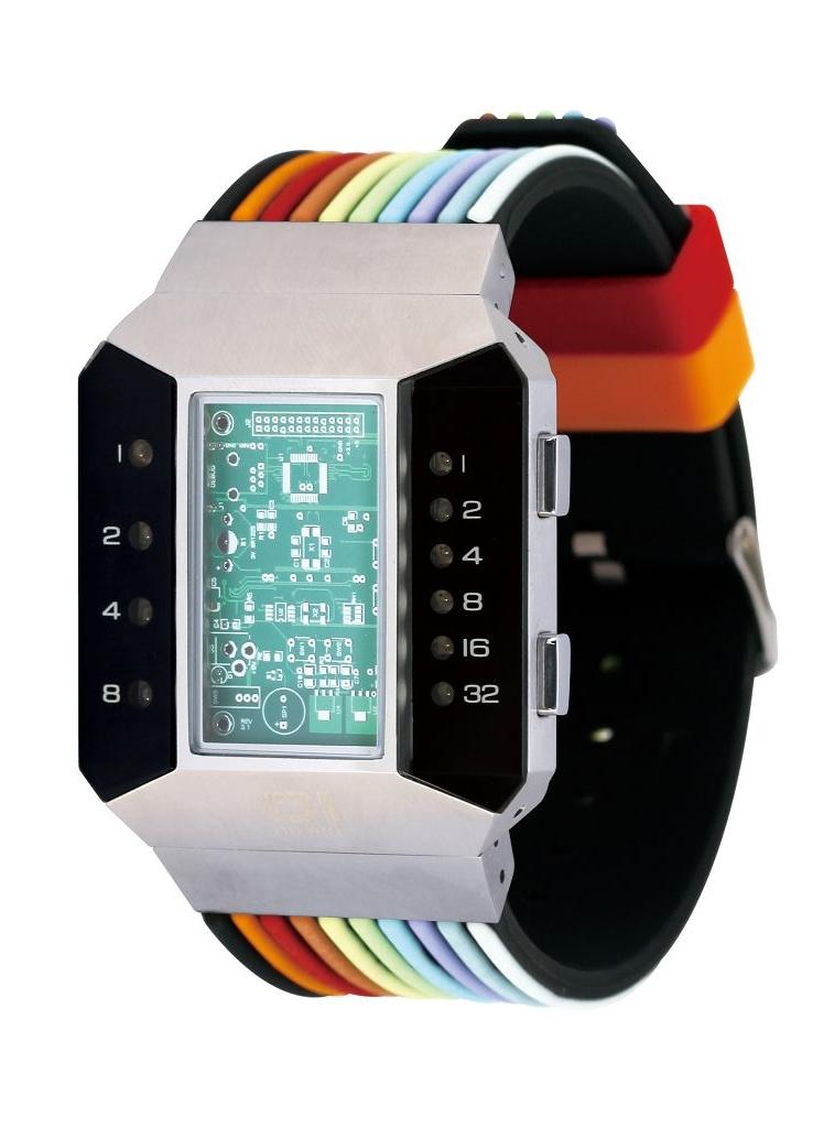 Бинарные часы 01TheOne Split Screen SC102R6 Color Strap Red Light