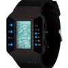 Бинарные часы 01TheOne Split Screen SC202B5 Black Strap Blue Light
