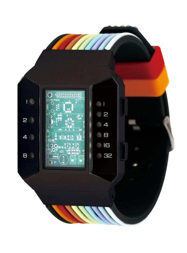 Бинарные часы 01TheOne Split Screen SC202R6 Color Strap Red Light